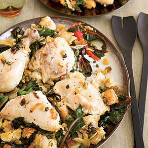 Chicken Baked on a Bed of Bread and Swiss Chard Recipe