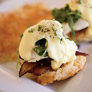 Eggs Benedict with Bacon and ArugulaRecipe