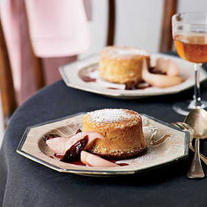 Fallen Toasted-Almond Soufflés with Poached Pears and PrunesRecipe
