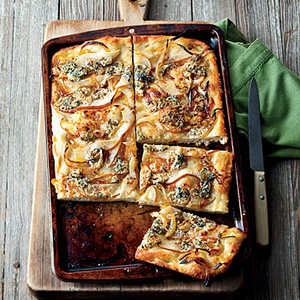 Focaccia with Caramelized Onions, Pear and Blue CheeseRecipe
