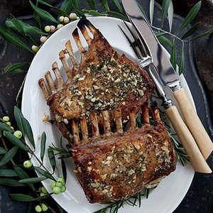 Garlic-Crusted Roast Rack of LambRecipe