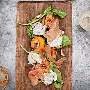 Grilled Apricots with Burrata, Country Ham and ArugulaRecipe