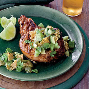 Grilled Chile Pork Chops with Tortilla-Tomatillo SalsaRecipe