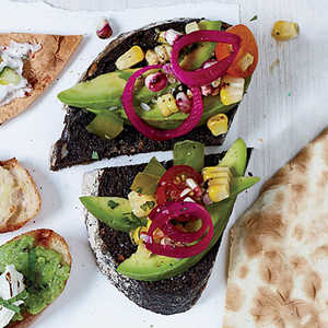 Pumpernickel with Avocado, Charred Corn and TomatoRecipe