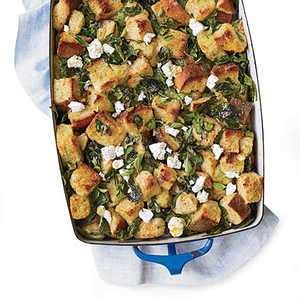 Spinach Bread Pudding with Lemon and FetaRecipe