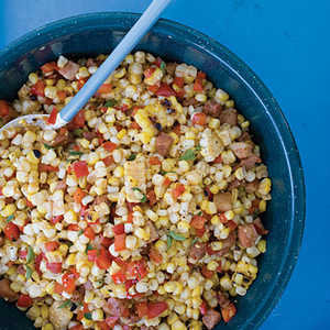 Warm Grilled Corn with Pancetta and Red Pepper Recipe