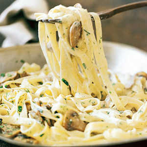 Fettuccine with Mushrooms, Tarragon, and Goat-Cheese Sauce Recipe