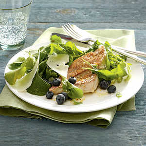 Arugula and Blueberry Salad With Seared Red Snapper Recipe
