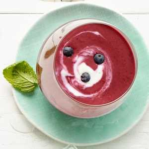 Blueberry and Yogurt Soup with Lime Swirl