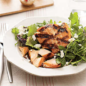 Grilled Salmon With GreensRecipe