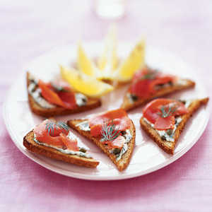 Pumpernickel Toasts With Smoked Salmon and Horseradish CreamRecipe