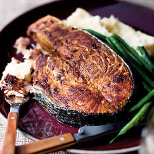 Spice-Rubbed Salmon Steaks With Mashed Potatoes Recipe