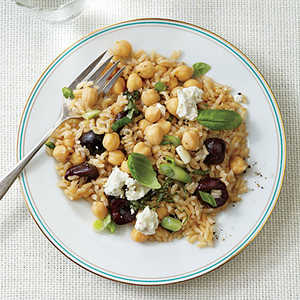 Warm Brown Rice and Chickpea Salad with Cherries and Goat CheeseRecipe