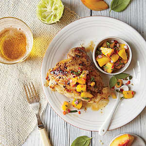 Grilled Chicken Thighs with Peach-Lime Salsa Recipe