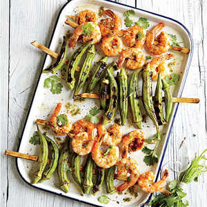 Indian-Spiced Grilled Shrimp and OkraRecipe