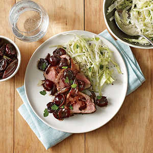 Pork Tenderloin with Roasted Cherries and ShallotsRecipe