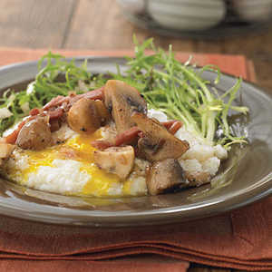 McEwen & Sons Grits with Poached Eggs and Country HamRecipe