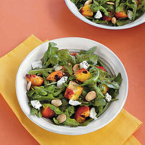Grilled Stone Fruit Salad with Goat Cheese and Almonds Recipe