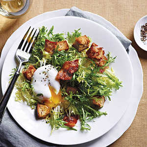 French Frisee Salad with Bacon and Poached Eggs Recipe