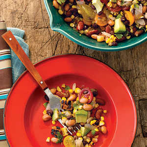Pinto, Black, and Red Bean Salad with Grilled Corn and AvocadoRecipe