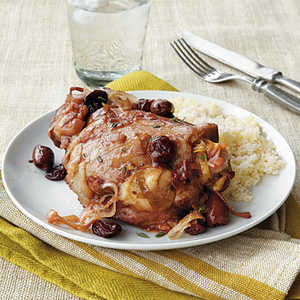 Turkey Thighs with Olives, Dried Cherries, and Chiles Recipe