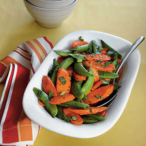 Roasted Carrots and Snap PeasRecipe