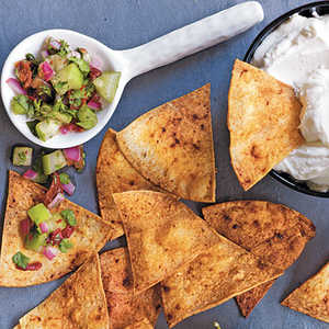 Adobo Chips with Warm Goat Cheese and Cilantro SalsaRecipe