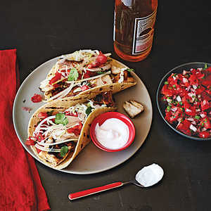 Baja-Style Grilled Fish Tacos with Cabbage and CremaRecipe