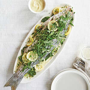 Herb-Steamed Whole Striped Bass With Fennel and Sweet Onion SoubiseRecipe