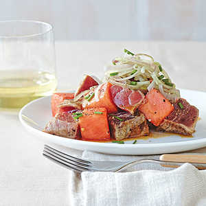 Miso-Grilled Tuna and Watermelon Salad with Wasabi ShallotsRecipe