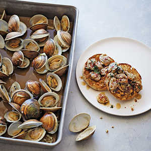 Oven-Roasted Garlic Clams with Charred English MuffinsRecipe