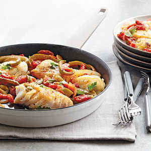 Sautéed Cod with Tomatoes, Piquillos, and Olives Recipe