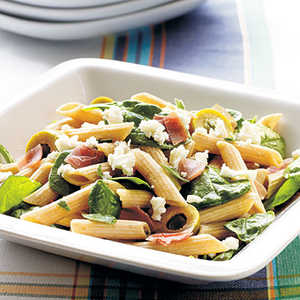 Prosciutto and Spicy Green Olive Pasta Salad Recipe
