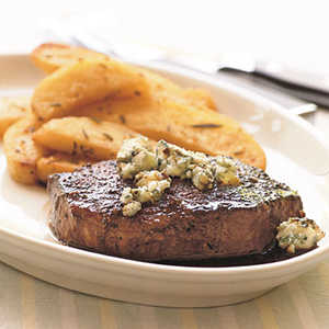 Seared Beef Tenderloin Steaks with Dark Beer Reduction and Blue CheeseRecipe