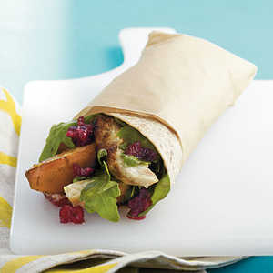 Grilled Chicken, Pear, and Arugula Wrap with Cranberry VinaigretteRecipe