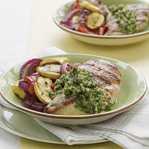 Grilled Chicken and Veggies with Chimichurri SauceRecipe