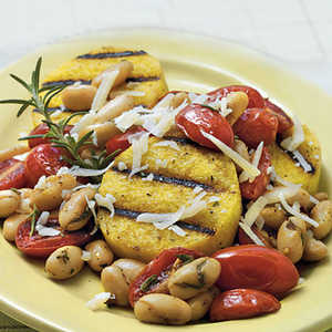 Grilled Polenta with Tomatoes and White Beans Recipe