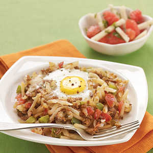 Meatless Hash and Eggs Recipe