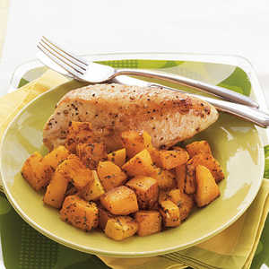 Roasted Chicken Breasts and Butternut Squash with Herbed Wine SauceRecipe