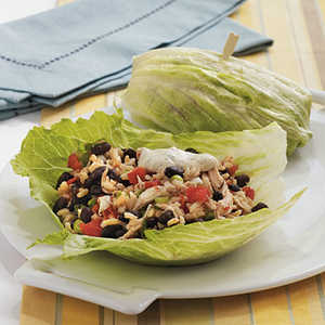 Southwestern Chicken Lettuce Wraps with Spicy Chipotle Dipping SauceRecipe