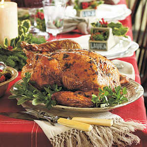 Two Herb-Roasted Turkey with Bourbon GravyRecipe