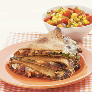 Black Bean Quesadillas with Warm Corn SalsaRecipe