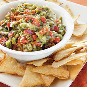 Roasted Garlic, Poblano, and Red Pepper Guacamole with Homemade Tortilla ChipsRecipe