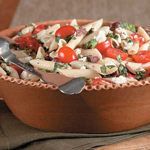 Pasta With Cherry Tomatoes, Olives, And FetaRecipe