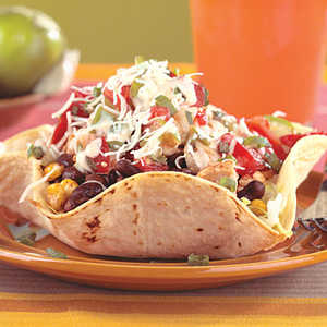 Chicken And Black Bean Taco Salad With Chipotle Dressing Recipe