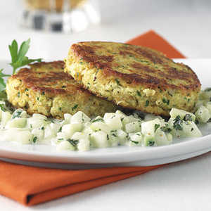 Tofu And Chickpea Patties With Cucumber Mint RelishRecipe