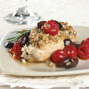 Rosemary-Feta Chicken With Cherry Tomato-Olive Sauce Recipe
