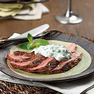 Chilled Sliced Lamb With Minted Pea Sauce Recipe