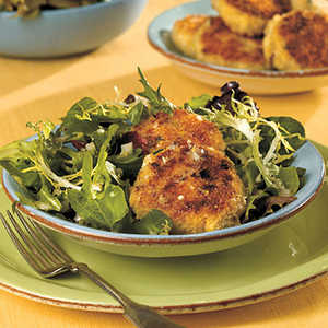 Crab Cakes Over Mixed Greens With Lemon DressingRecipe