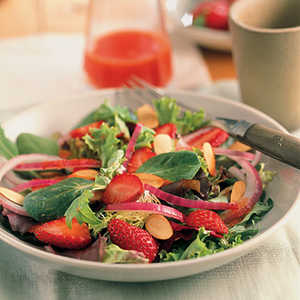 Spring Greens with Strawberries and Honey-Watermelon DressingRecipe